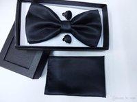 Wholesale BL1002L Pure Black Solid Classic Silk Jacquard Woven Men Butterfly Self Bow Tie BowTie Pocket Square Handkerchief Suit Set