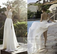 Wholesale 2015 Sexy White Ivory Wedding Dresses Summer Beach Chiffon Backless Appliques Beaded Front Split Crystals A Line Bridal Gowns Bride Dress