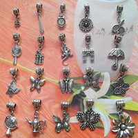 Wholesale Pandora Style Charms and Beads Tibetan Silver Butterfly Dangle Big Hole Beads DIY Craft Bracelet Jewelry Accessories
