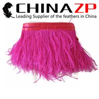 Wholesale CHINAZP Crafts Factory yards cm inch Width Selected Prime Quality Dyed Hot Pink Ostrich Feather Fabric Trim for Dressmaking