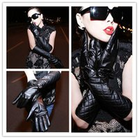 Wholesale 1Pair Women s Winter Faux Leather Long Gloves Fashion Warm Gloves Black Over The Elbow Soft Women s Bow Gloves