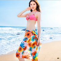 Wholesale Sexy Girls Pareo Sarong Dress for Women Colorful Sheer Chiffon Cover up Wrap Beach Bikini Shawl Floral Scarf Silky Tulle Bohemian Dresses