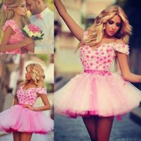 Wholesale 2015 Party Dresses Pink Homecoming Dresses Sexy Short Prom Dresses with Straps Sweetheart Beach Wedding Party Dresses with Flowers
