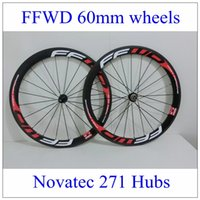 Wholesale FFWD carbon wheels white red decals carbon glossy matt bike wheels mm depth mm width C carbon wheels with Novatec Hubs New