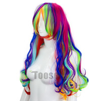 wig clips - Fashion Womens Girls cosply Clip on in Synthetic Hair Extensions curly Colorful Hair candy colors Rainbow Hair piece Wig NMFFM