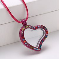 Cheap Lockets Heart Crystal Floating Charm Glass Living Memory Locket 25mm Extra Charms Necklace Mixed Multicolor