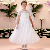 Wholesale New Modest White Lace First Communion Dress With Sheer Short Sleeves Calf Length Special Occaison Flower Girls Dresses For Weddings