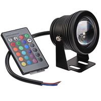 al por mayor 12v focos led bajo el agua-Impermeable de 10W LED proyectores subacuáticos AC DC 12V RGB iluminación con llave 24 control remoto IR caliente venta 073-10WRGB