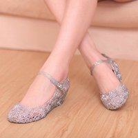 Wholesale 2014 Summer Jelly Crystal Sandles Cutout Wedge Shoes Breathable Plastic Nest Shoes Causal Sandles XWZ149
