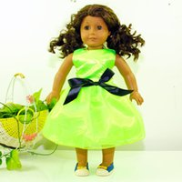 silk clothes - New Fashion Party Gifts For Children Girls Dolls Green Clothes Accessories Dress For American Girl Dolls Dress
