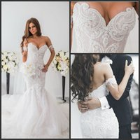 brooch sale - 2016 Hot Sale Mermaid Beach Wedding Dress Full Beading Lace Court Train Bridal Gowns Plus Size Arabic