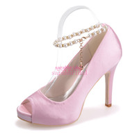 beautiful evening shoes - Pink Wedding Bridal Shoes Beautiful For Brides Bridesmaids Pearls Ankle Strap Peep Toe Cheap Ladies Evening Party Prom Dress Pumps Sandals