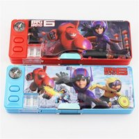 plastic pencil box - Big Hero Pencil Case Plastic Pencil box Children multifunction Stationery for girl and boy cm