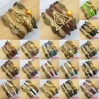 angels synthetics - 2016 fashion Harry Potter Braided rope platted Synthetic Leather bracelet Snitch Angel Wings Owl Popular film and television play Charm