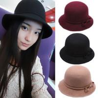 Wholesale Elegant Church Hat For Women Bowknot Design Fedora Woolen Hat