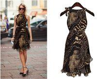 leopard print mini dress - Hot Sale Women Dress Vintage Sleeveless Chiffon Leopard Casual Dress Vestidos Cheapest Price