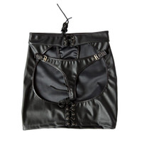 Wholesale Adjustable size Black Patent Leather Sexy Dominatrix Mooning skirt Fetish Harness Adult Sex Club Dress Anasyrma briefs knickers