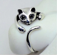Wholesale New Fashion Cute Silver Cat Shaped Ring With Rhinestone Eyes Adjustable and Resizeable