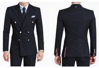 custom clothing - 2016 Double Breasted Side Vent Groom Tuxedos Peaked Lapel Men s Wedding Dress Holiday Clothing Business Suit Jacket pants tie