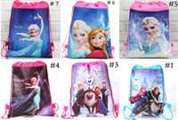 Wholesale more styles frozen drawstring bags Anna Elsa backpacks handbags children school bags kids shopping bags present