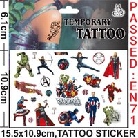 Wholesale The Avengers Superman The Flash Iron man Anime Cartoon Tattoo Stickers Monster high Body complete tattoo kit Women Baby Children s Gift