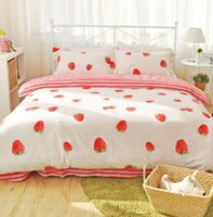 Cheap Cute pink strawberry bedding sets adults,full queen 100%cotton orange banana home textiles flat sheets pillow case duvet cover