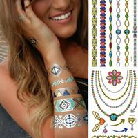 Wholesale New Style Fashion D Metallic Tattoo Sticker Colorful Flash Temporary Tattoos Trendy Body Art Tattoo Sticker