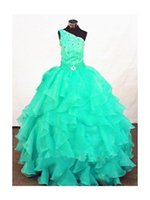 printed organza ribbon - Pretty Custom Mint Simple Fashion Attractive Girl s Pageant Dresses One shoulder Cascading Ruffles Beading Girl Party Gown