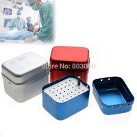 Wholesale Baistra sterilizer Silver Red Blue holes Dental High Speed Bur Autoclave Disinfection Box Holder B001
