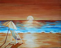 Wholesale Skillet Painter Handmade High Quality Abstract Landscape Oil Painting On Canvas Handmade Beach Chair Painting For Wall Artworks