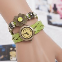 antique brass decorated - Green leather long strap watches hot sales ring decorate dress watches Quartz Analog Watches antique brass case simple style watches hand