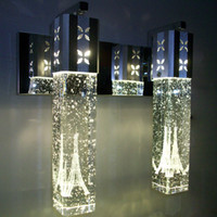 Wholesale NEW Modern W LED Crystal Bubble Wall Lamp Crystal Cylinder Shape Column Living Room Wall Lamp Mirror Light RGB Warm White Chandelier Light