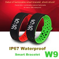 Wholesale IP67 Waterproof W9 Smart Bracelet Bluetooth Wirstband Fitness Activity Pedometer Outdoor Watch Alarm Clock For iPhone IOS Android OS
