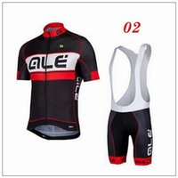 Wholesale cheap ALE Cycling Jerseys Set Short Sleeve With Padded Bib Trousers Men Summer Cool Cycling Skinsuit Black Blue Fluo Yellow Bike Wear
