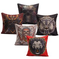 Cheap 44*44cm Indiana Gothic Style Skull Animal Pattern Linen & Cotton Cushion Cover Home Decorative Pillow Case For Sofa Bed Cars
