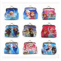 Wholesale Girls D Cartoon Frozen Coin Purse with iron button Anna Elsa Olaf shell bag wallet Purses children Gifts For Holidays Christmas free DHL