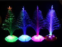 Wholesale Christmas sale five golden flowers base flashing fiber optic Christmas tree colorful lighting