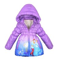Wholesale retail New winter coats Anna elsa girls thickening long cotton padded clothes jacket coat for girls