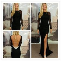 Cheap 2014 Elegant Black Lace Long Sleeves Backless Sexy Mermaid Prom Dresses Evening Gowns Vestidos De Renda 2015 Robe De Soriee