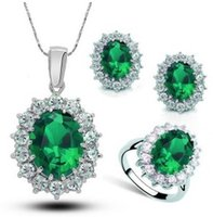 Wholesale crystal necklace set earring necklace and ring set elegant popular necklace set party jewelry set LG242