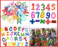 Wholesale 3280PCS Fedex Ship Mixed Letters Number Figure Educational Kids and Children Funny Wooden fridge magnet stick pack for