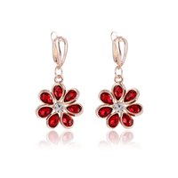 Cheap Bridal Earrings Rhinestone Chinese Factory Directly Jewelry Rose Gold plated Floral Earrings New Arrival Hot Selling
