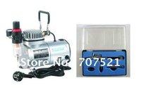 1/6 HP, 220V AC mini-compressor de ar portátil, kit Airbrush para tatoo, air brush make up pintura, bomba de ar de pistão AS18-2K