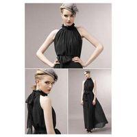 Wholesale New Summer Stand Collar Sashes Maxi Dress Women Chiffon Black Vintage Long Dress Casual Sleeveless Ankle Length Dresses dresses fashion