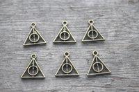 antique triangles - 50pcs Triangle Charms Antique bronze Mini Triangle Charm Pendants jewelry making X13mm