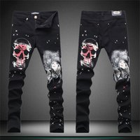 belle paint - 2016 Skull Painted Jeans For Men Fashion Belle Printed Plus Size Stretch Designer Stylish Straight Skinny Jeans
