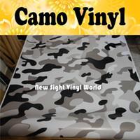 Wholesale JUMBO SNOW Camouflage Vinyl Car Wrap Camo Film Sheet Roll Arctic Urban Camouflage Vinyl Film Bubble Free Size m Roll