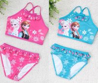 Wholesale Frozen Elsa Anna piece Swimsuit Baby Girls Kids Swim Vest Girls Swim Briefs Kids Swimwear Child Sets Beachwear Baby Swimwear Bathing Suits