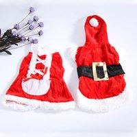 Capas superiores del traje España-La ropa del traje de la sudadera con capucha de la ropa de Santa del perro de perrito Outwear la capa de la Navidad del animal doméstico FIg ROJO
