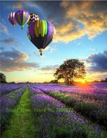 air drill kit - Diy lavender Hot Air Balloon painting kits x30cm square drill diamond pasted painting handcraft Home Decoration LG197